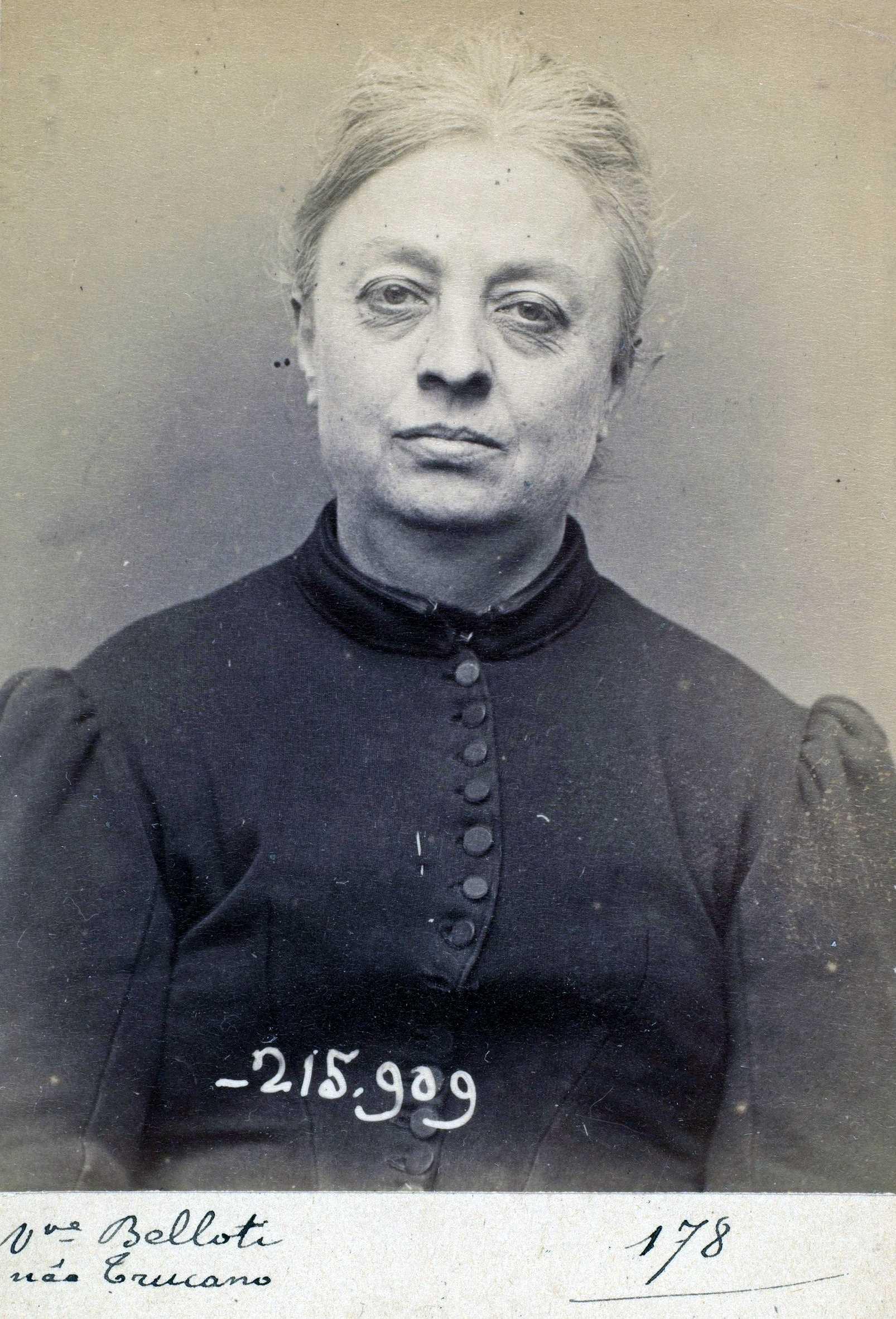 Foto policíaca de Vittoria Trucano (19 de març de 1894)