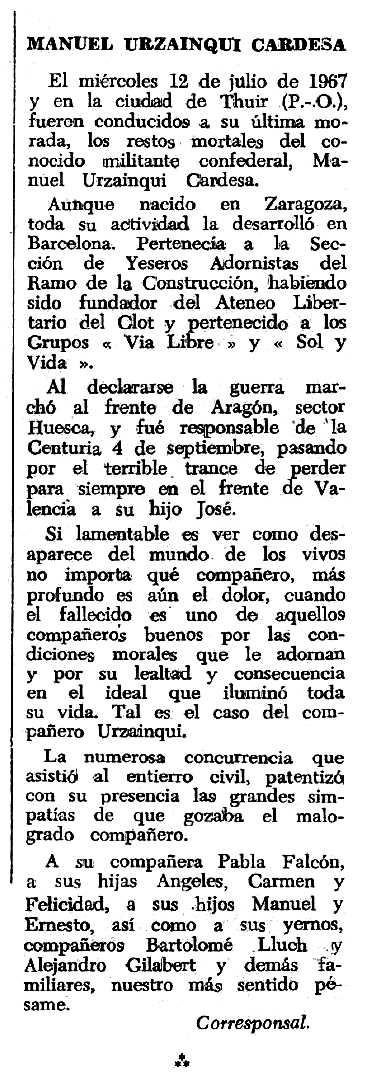 """Necrològica de Manuel Urzainqui apareguda en el periòdic tolosà """"Espoir"""" del 8 d'octubre de 1967"""