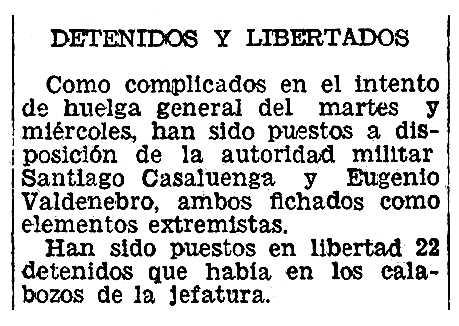 """Notícia de la detenció d'Eugenio Valdenebro García apareguda en el diari valencià """"Las Provincias"""" de l'11 de novembre de 1934"""