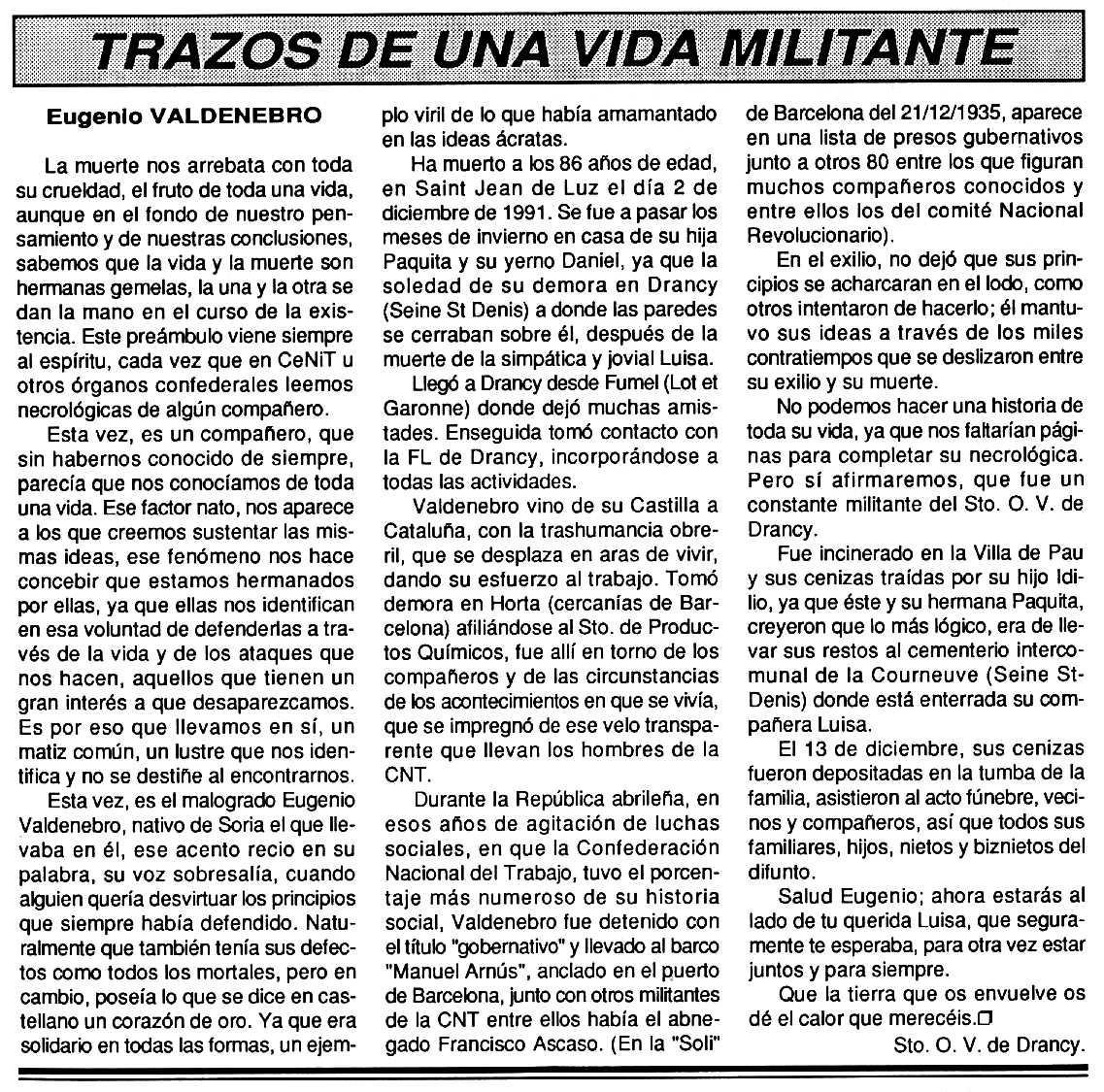 """Necrològica d'Eugenio Valdenebro García apareguda en el periòdic tolosà """"Cenit"""" del 7 de gener de 1992"""