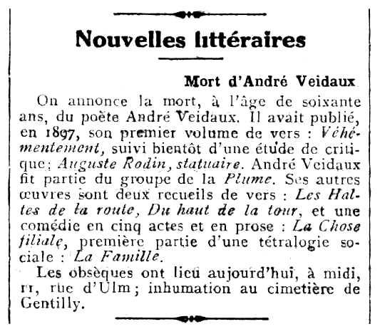 """Necrològica d'André Veidaux apareguda en el periòdic parisenc """"Comoedia"""" del 4 d'agost de 1927"""