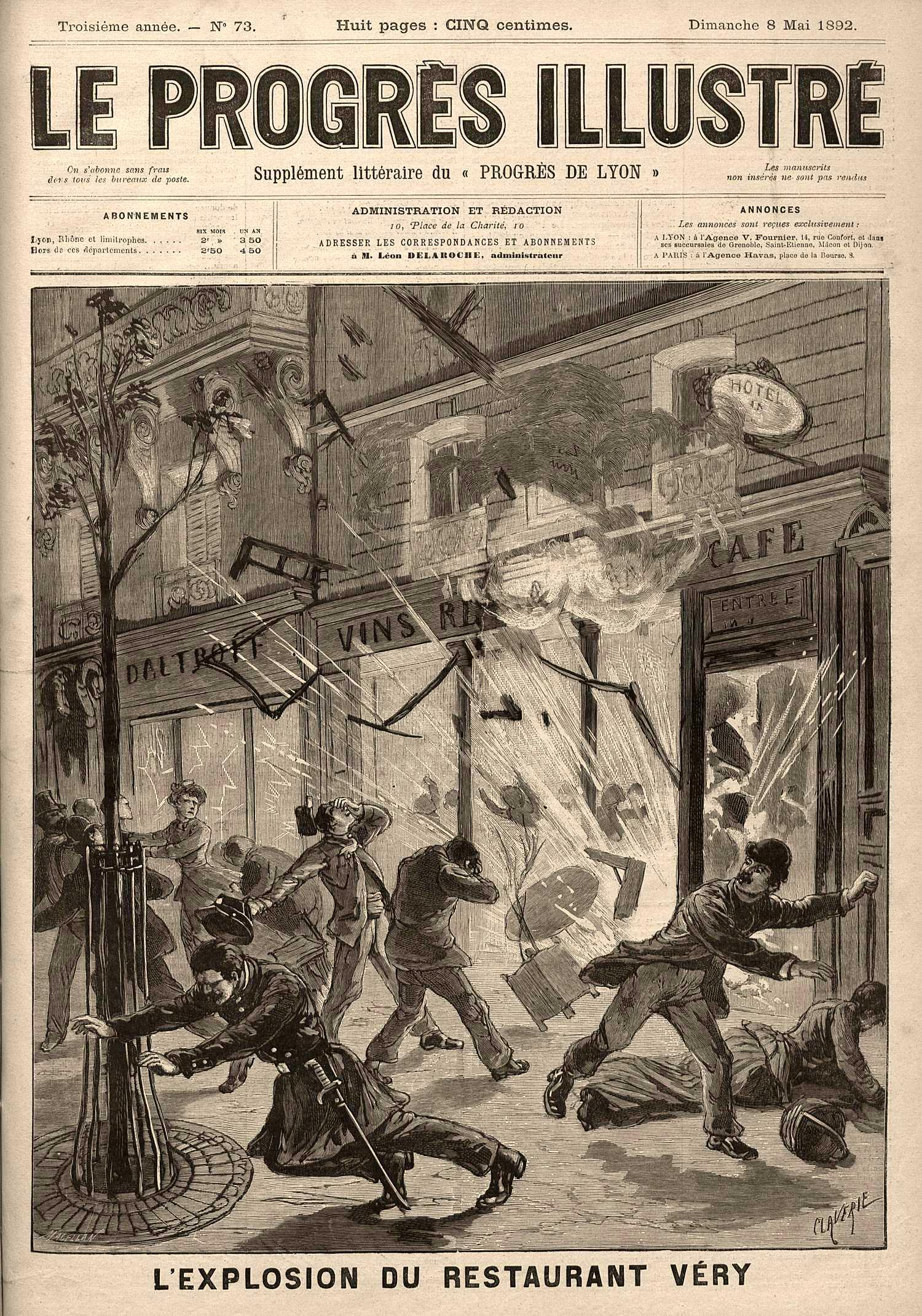 """Portada de """"Le Progrés Illustré"""" sobre l'atemptat (8 de maig de 1892)"""