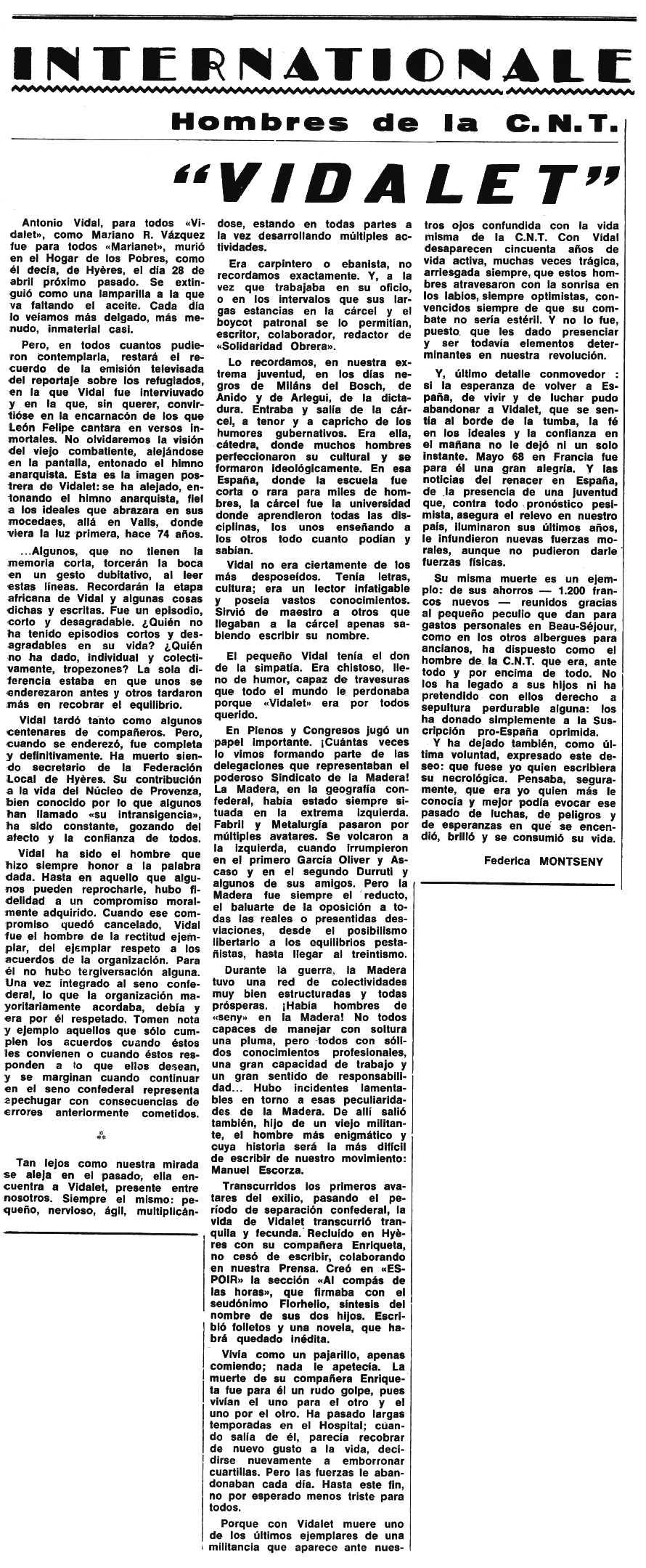 """Necrològica d'Antoni Vidal Dalmau apareguda en el periòdic tolosà """"Espoir"""" del 18 de juny de 1972"""