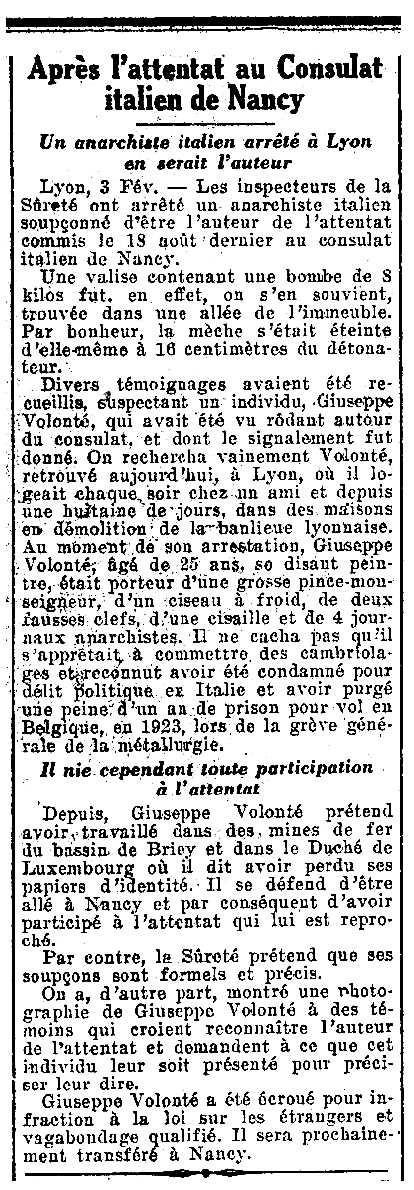 """Notícia de la detenció de Giuseppe Volonté apareguda en el diari parisenc """"Le Petit Journal"""" del 4 de febrer de 1928"""