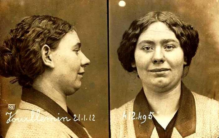 Foto policíaca de Marie Vuillemin (21 de gener de 1912)