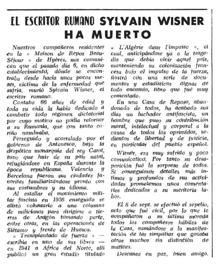 """Necrològica de Sylvain Wisner apareguda en el periòdic tolosà """"Espoir"""" del 16 d'octubre de 1966"""
