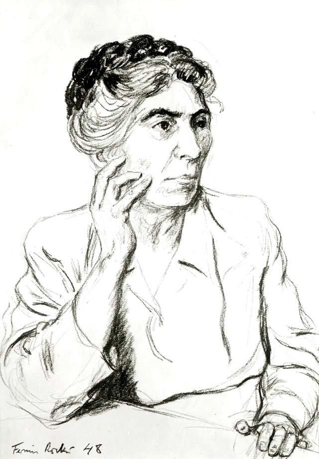 Milly Witkop retratada por su hijo Fermín Rocker (1948)
