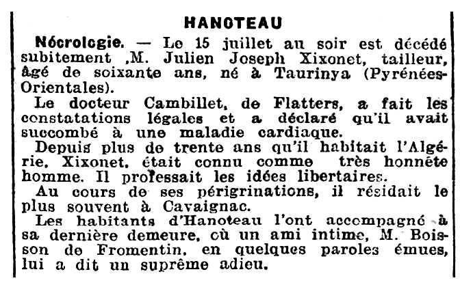 """Necrològica de Julien Xixonet apareguda en el diari """"L'Écho d'Alger"""" del 21 de julioil de 1919"""