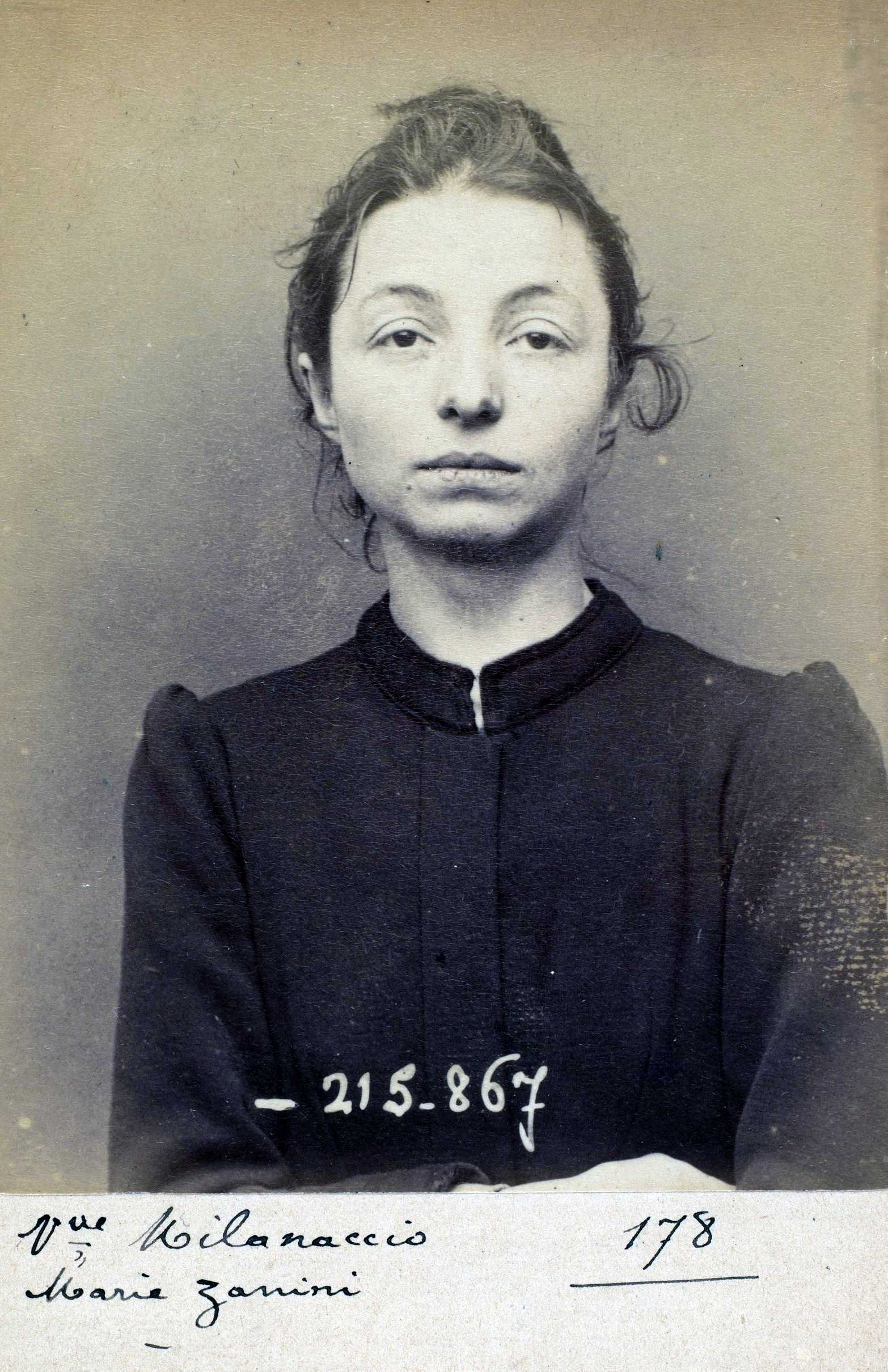 Foto policíaca de Maria Zanini (18 de març de 1894)