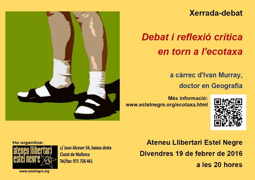 Xerrada-debat «Debat i reflexió crítica en torn a l'ecotaxa», a càrrec d'Ivan Murray (19-02-16)