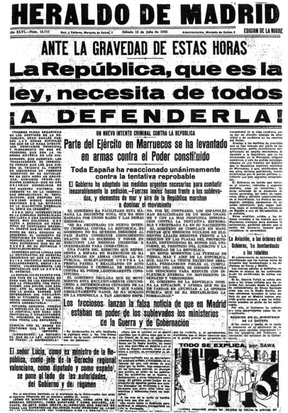 """L'""""Heraldo de Madrid"""" del 18 de juliol de 1936"""