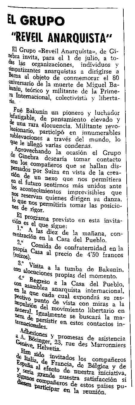 """Convocatòria de la commemoració publicada en el periòdic tolosà """"CNT"""" del 24 de juny de 1956"""
