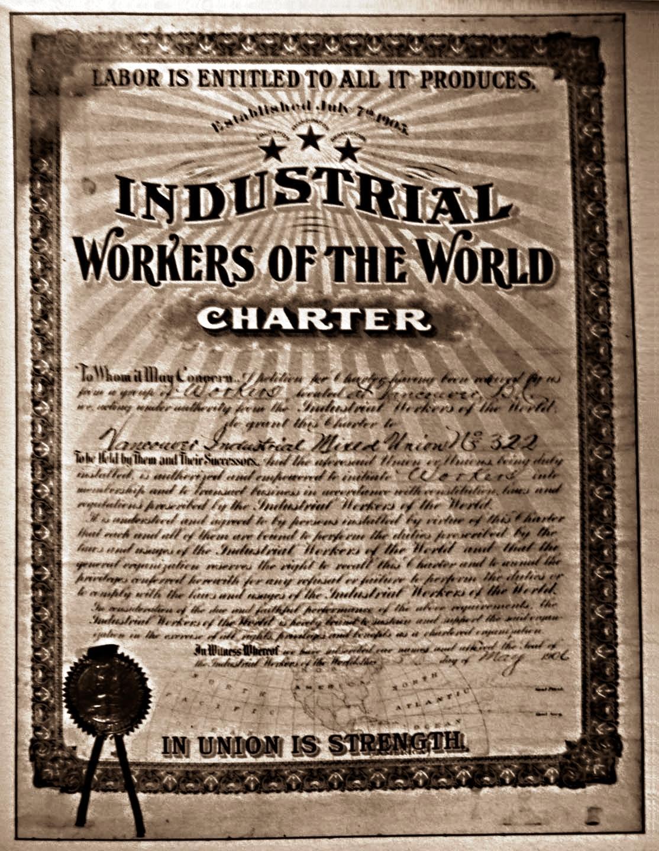 Acta de legalització del primer sindicat de l'IWW canadenca, la Vancouver Industrial Mixed Union (5 de maig de 1906)