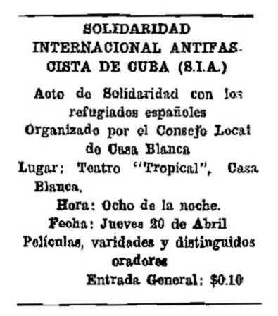 """Propaganda de l'acte apareguda en el periòdic havà """"Rumbos Nuevos"""" de l'1 d'abril de 1939"""