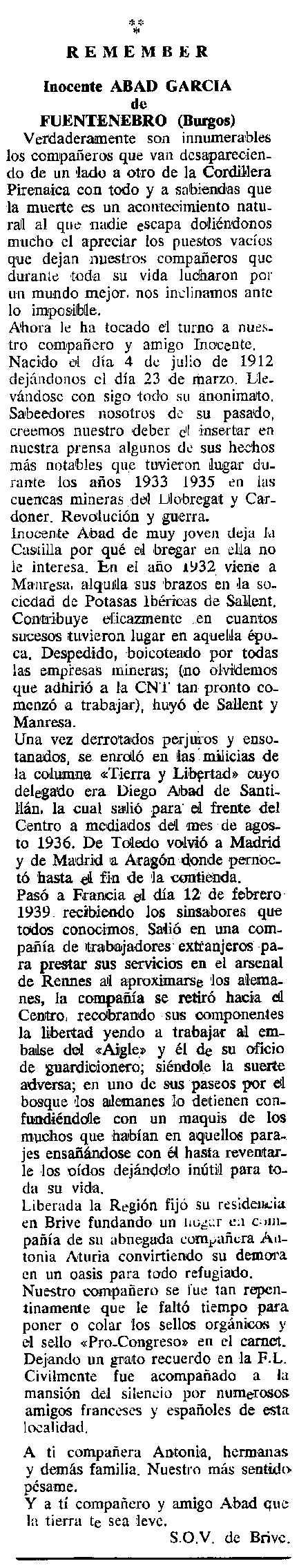 """Necrològica d'Inocente Abad García publicada en el periòdic tolosà """"Cenit"""" del 19 de juny de 1990"""