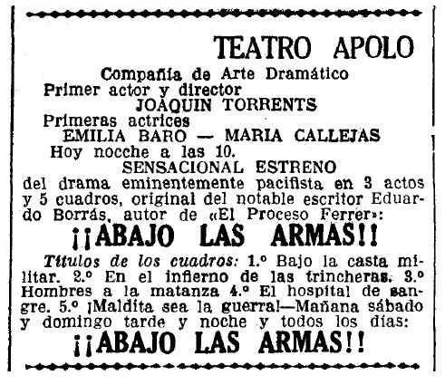 """Propaganda de l'estrena de l'obra de teatre apareguda en el diari barceloní """"La Vanguardia"""" del 2 de desembre de 1932"""