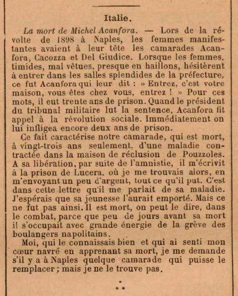 """Necrològica de Michele Acanfora escrita per Roberto D'Angiò publicada en el periòdic parisenc """"Le Temps Nouveaux"""" del 23 de març de 1901"""