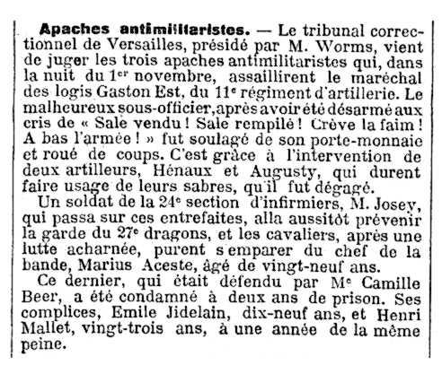 """Notícia de la condemna de Marius Aceste apareguda en el diari parisenc """"Le Temps"""" del 6 de gener de 1913"""