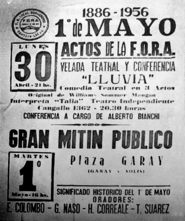 Cartell dels actes de la FORA del Primer de Maig de 1956