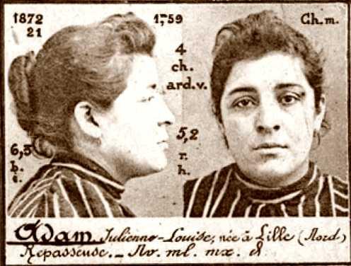 Foto policíaca de Julienne Adam (ca. 1894)