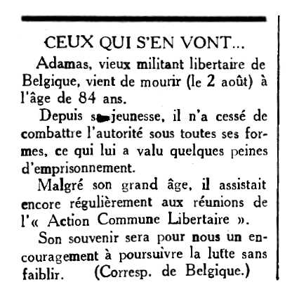 "Necrològica d'Adamas apareguda en el periòdic parisenc ""Le Combat Syndicaliste"" de l'11 de setembre de 1953"