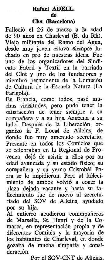 """Necrològica de Rafael Adell Flos apareguda en el periòdic tolosà """"Cenit"""" del 20 de setembre de 1988"""