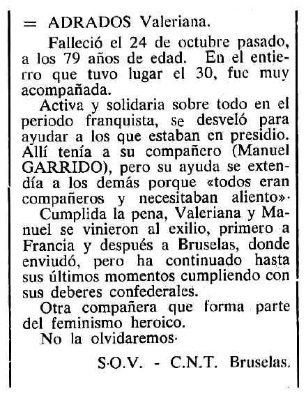 """Necrològica de Valeriana Adrados apareguda en el periòdic tolosà """"Cenit"""" de l'11 de desembre de 1984"""