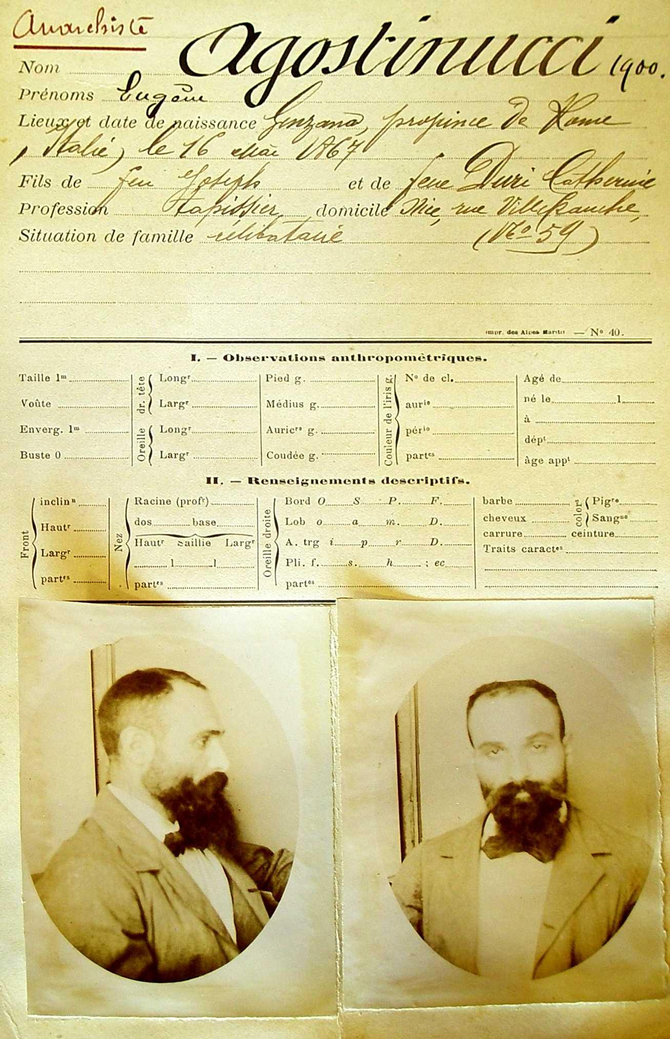 Fitxa de la policia francesa d'Eugenio Agustinucci