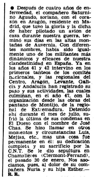 """Necrològica de Saturnino Aguado Ruiz apareguda en el periòdic parisenc """"Frente Libertario"""" del febrer de 1975"""
