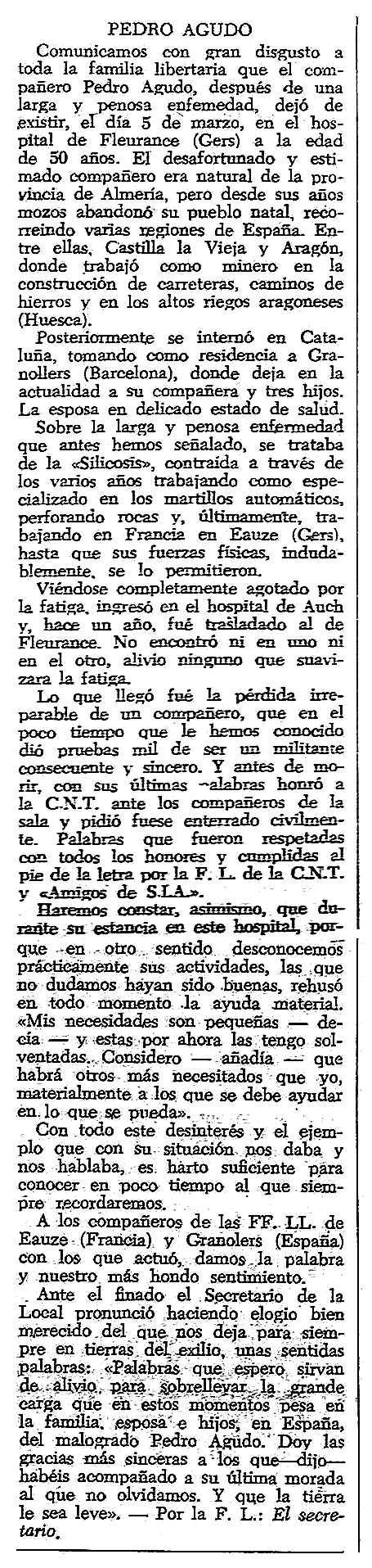 """Necrològica de Pedro Agudo Gallego apareguda en el periòdic tolosà """"CNT"""" del 6 d'abril de 1958"""