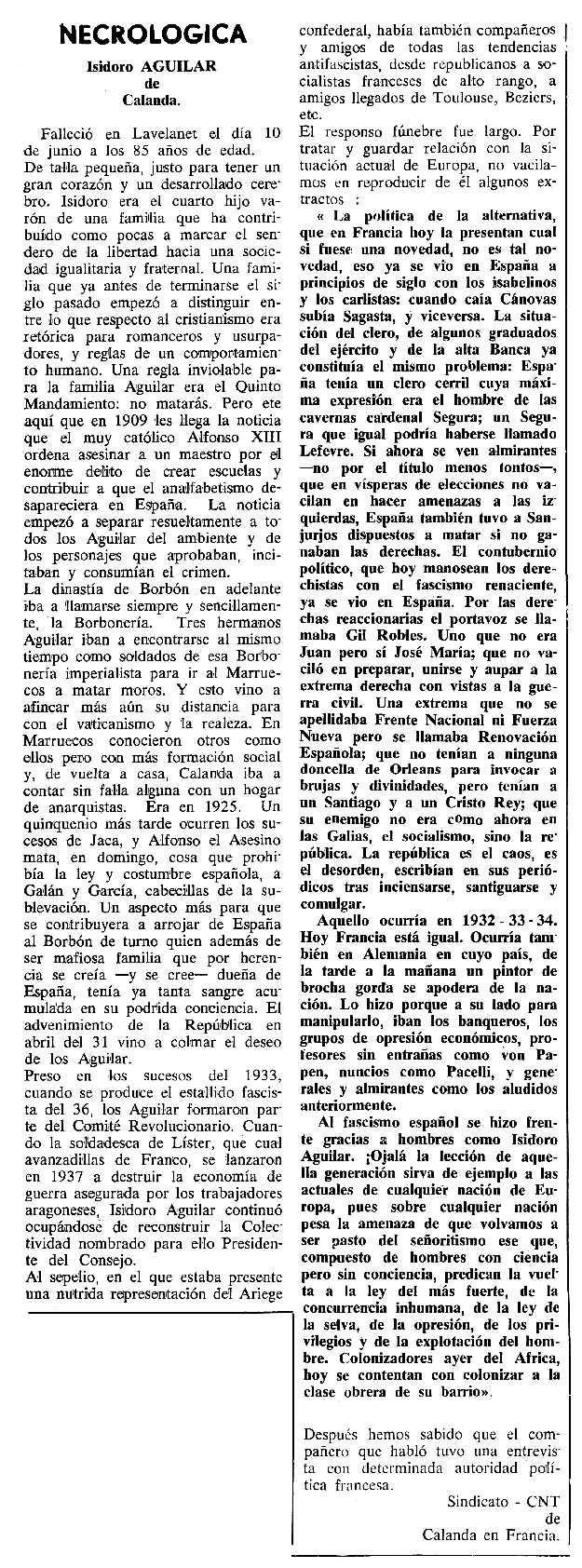 """Necrològica d'Isidoro Aguilar Albert apareguda en el periòdic tolosà """"Cenit"""" del 10 d'octubre de 1988"""