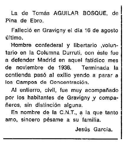 "Necrològica de Tomás Aguilar Bosque apareguda en el periòdic tolosà ""Cenit"" de l'1 d'octubre de 1985"