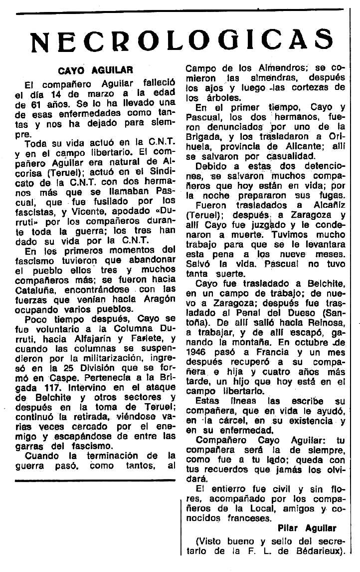 "Necrològica de Cayo Aguilar Burriel apareguda en el periòdic tolosà ""Espoir"" del 7 d'octubre de 1973"