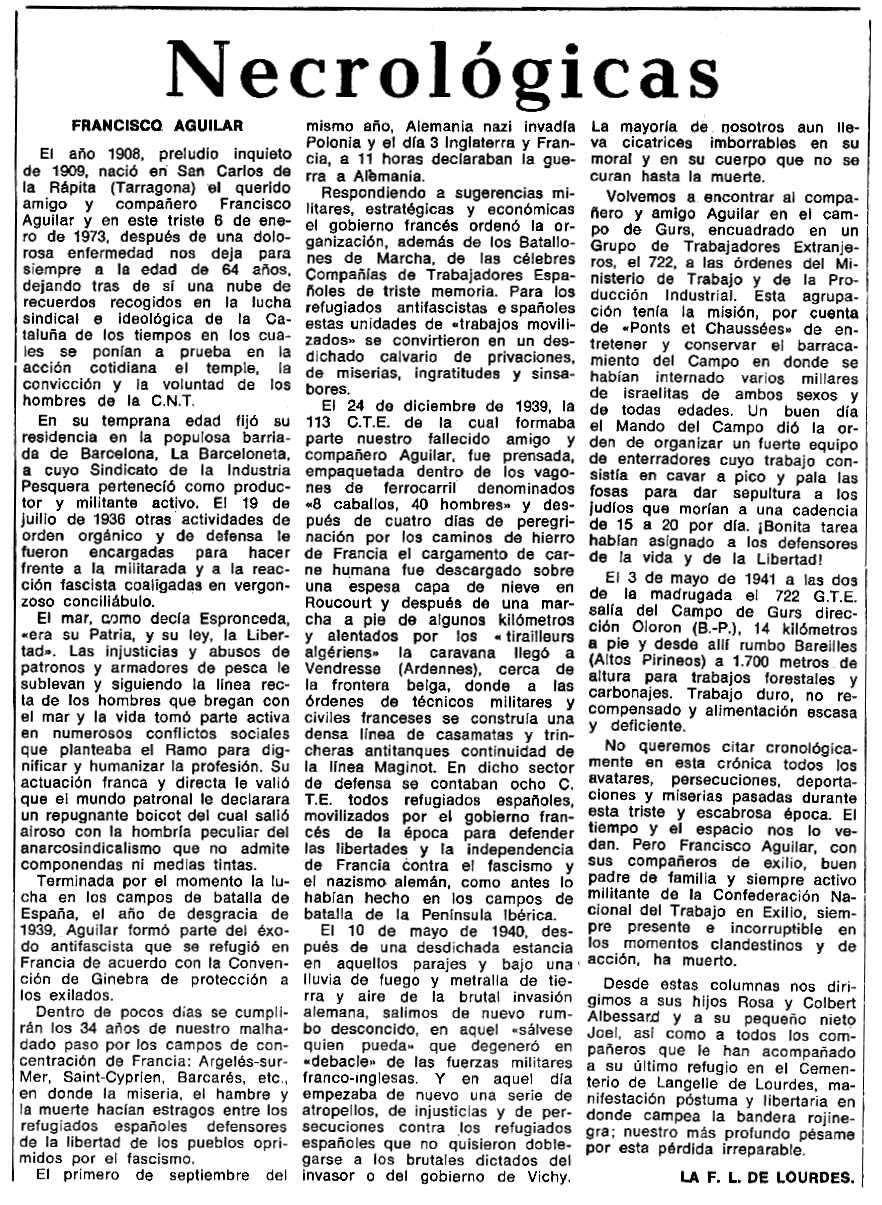 """Necrològica de Francesc Aguilar Cartes apareguda en el periòdic tolosà """"Espoir"""" del 19 de març de 1973"""