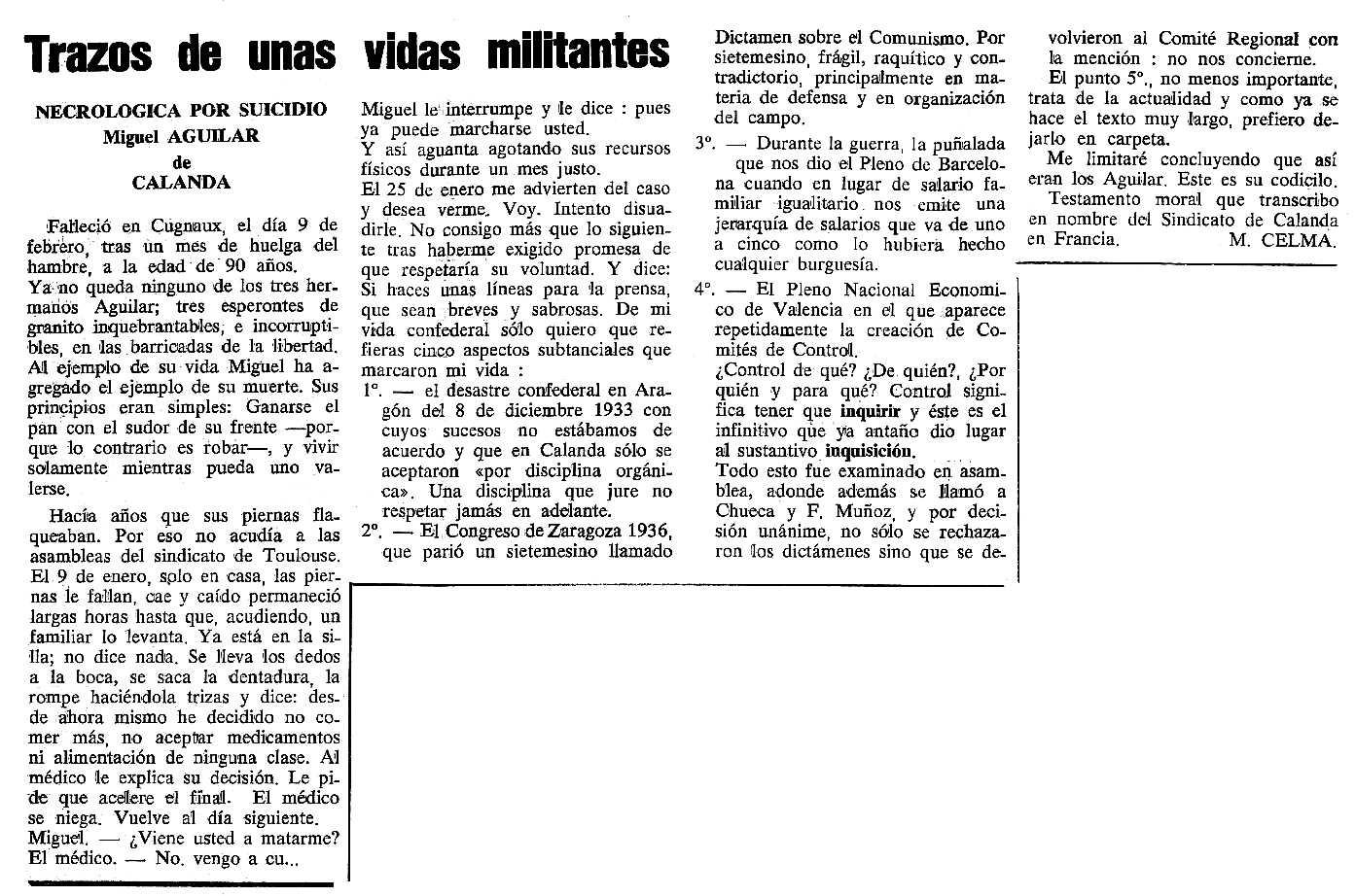 "Necrològica de Miguel Aguilar Albert apareguda en el periòdic tolosà ""Cenit"" del 27 de febrer de 1990"