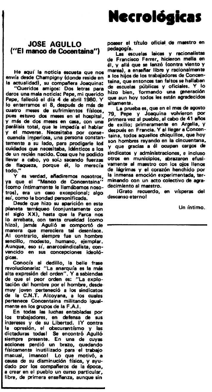 "Necrològica de Josep Agulló Corro apareguda en el periòdic tolosà ""Espoir"" del 17 de juny de 1980"