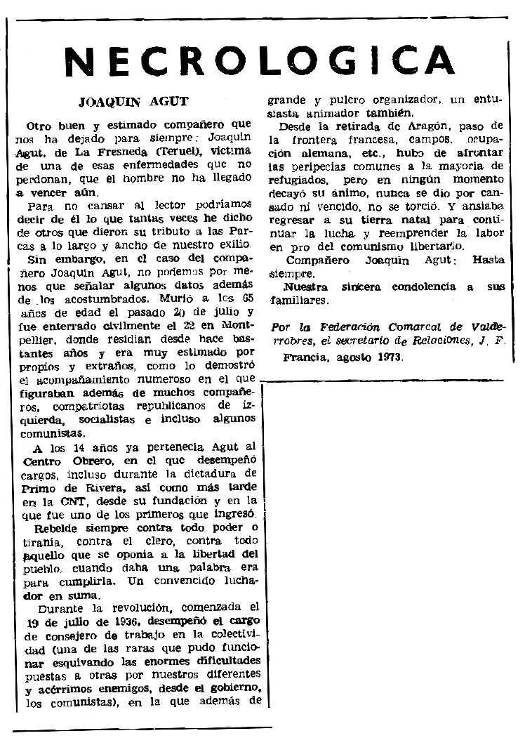 """Necrològica de Joaquín Agut apareguda en el periòdic parisenc """"Le Combat Syndicaliste"""" del 4 d'octubre de 1973"""