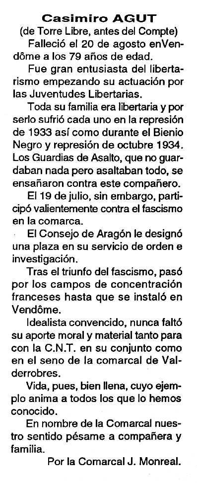 """Necrològica de Casimiro Agut Carceller apareguda en el periòdic tolosà """"Cenit"""" del 27 de setembre de 1994"""