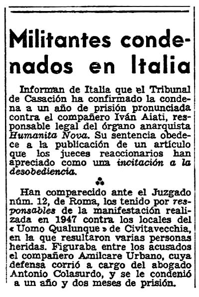 """Notícia sobre la condemna d'Ivan Aiati publicada pel periòdic parisenc """"Solidaridad Obrera"""" del 22 de desembre de 1951"""