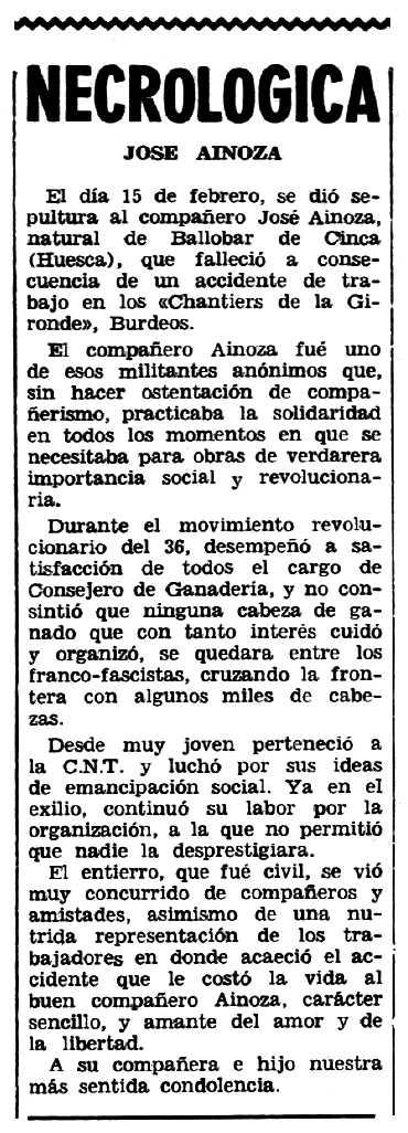 """Necrològica de José Ainoza Vilas apareguda en el periòdic tolosà """"Espoir"""" del 18 de març de 1962"""