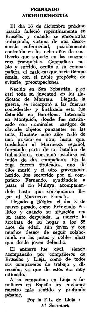 """Necrològica de Fernando Airiguirigoitia apareguda en el periòdic tolosà """"Espoir"""" del 20 de març de 1966"""