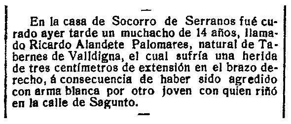 """Notícia sobre Ricardo Alandate Palomares apareguda en el diari valencià """"Las Províncias"""" del 6 d'abril de 1910"""