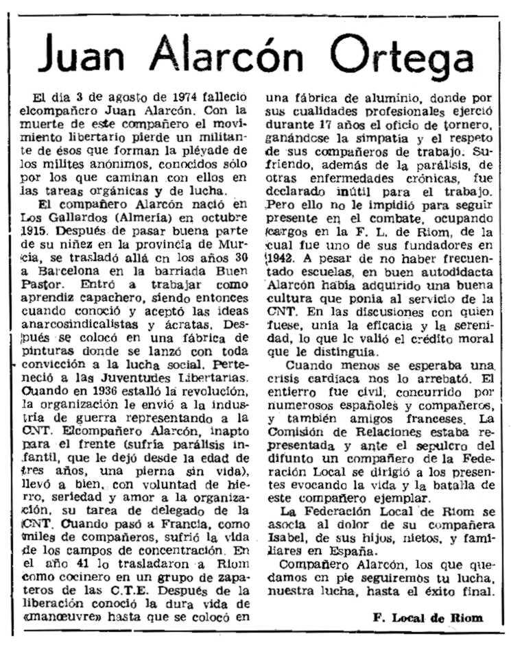 """Necrològica de Juan Alarcón Ortega publicada en el periòdic parisenc """"Le Combat Syndicaliste"""" del 16 de gener de 1975"""
