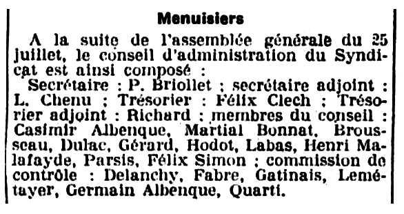 """Notícia sobre el nomenament de Casimir Albenque al consell d'administració del Sindicat de Fusters apareguda en el diari parisenc """"Le Populaire"""" del 9 d'agost de 1919"""