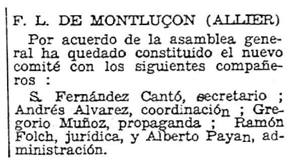 """Notícia sobre un nomenament d'Alberto Payán Ramos apareguda en el periòdic parisenc """"Solidaridad Obrera"""" del 17 de juny de 1950"""