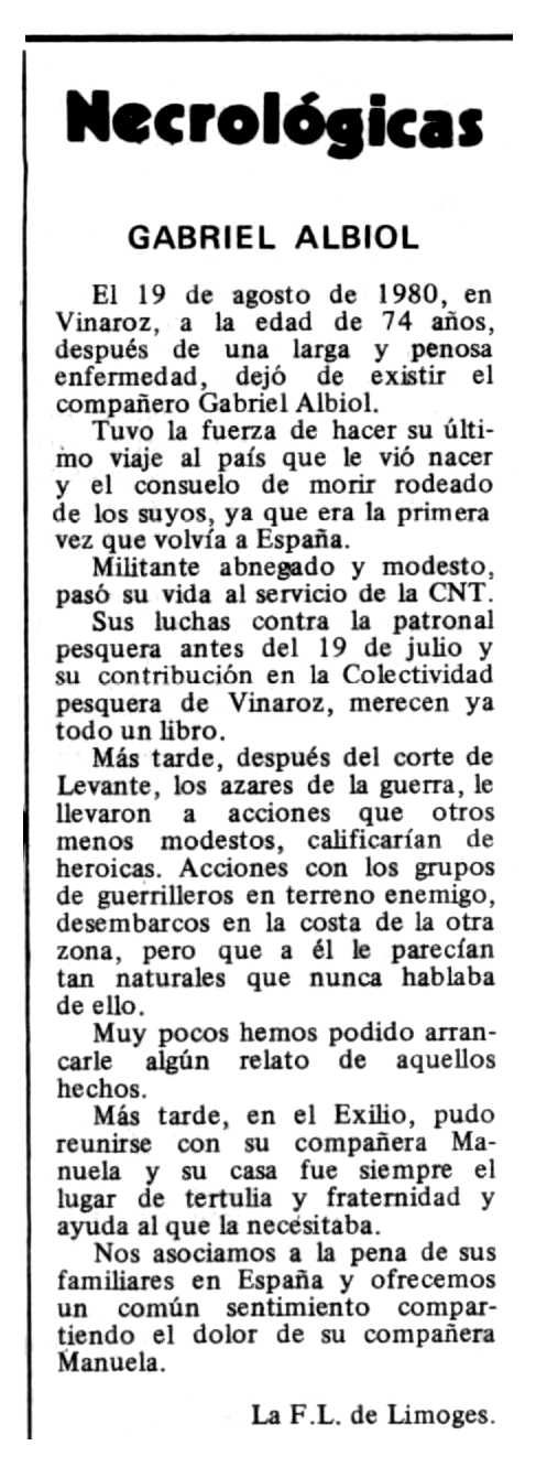 "Necrològica de Gabriel Albiol Balaciart apareguda en el periòdic tolosà ""Espoir"" del 2 de novembre de 1980"