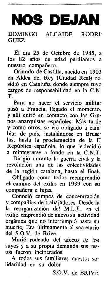 """Necrològica de Domingo Alcaide Rodríguez apareguda en el periòdic tolosà """"Cenit"""" del 28 de gener de 1986"""