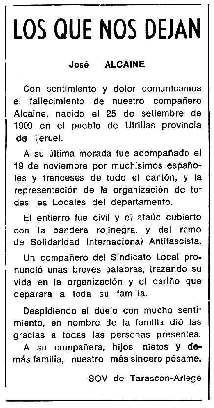 """Necrològica de José Alcaine apareguda en el periòdic tolosà """"Cenit"""" del 5 de gener de 1988"""