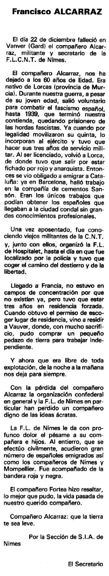 """Necrològica de Francisco Alcaraz Franco apareguda al periòdic tolosà """"Espoir"""" del 26 d'abril de 1981"""