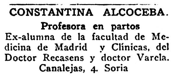 "Notícia professional de Constantina Alcoceba Chicharro publicada en el diari de Sòria ""El Avisador Numantino"" del 23 d'agost de 1930"